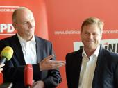 Dietmar Woidke (SPD) und Christian Görke (Die Linke). dpa/R.Hirschberger