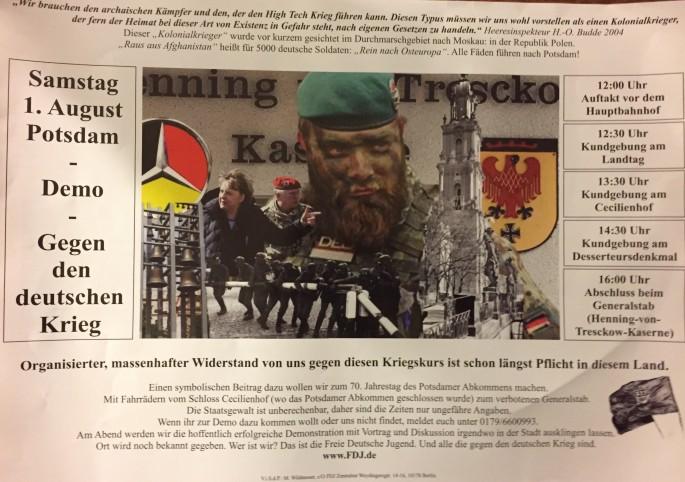 Das Flugblatt der FDJ - Auch das hat die SPD mit ihrer Politik im Land Brandenburg zu verantworten